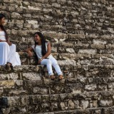 Noame and Edit on steps of Royal Palace, Palenque